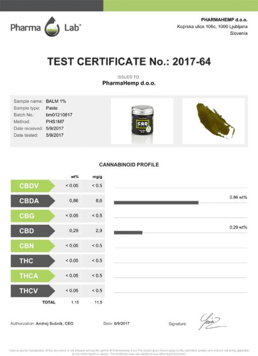 CBD Skin Balm - CBD Oils - Pharmahemp - Enjoy Dokha - UK - Certificate of Authentication