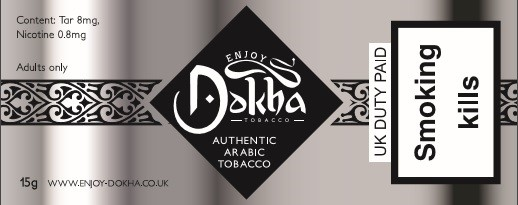 Enjoy Dokha Platinum Arabic tobacco label